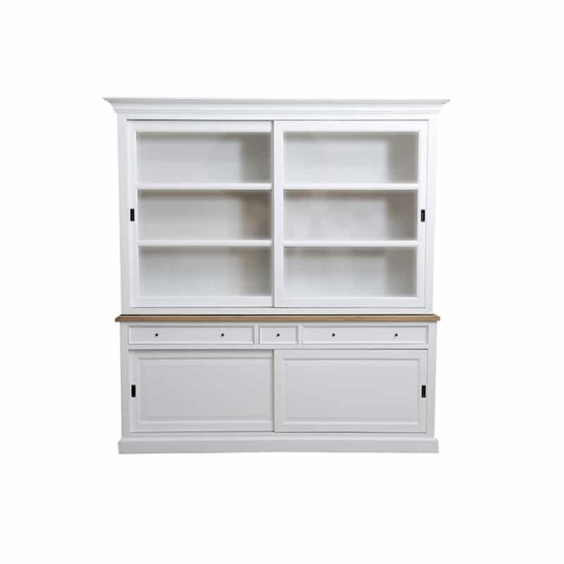Meuble haut vaisselier en bois blanc de style cottage / charme sur mesure