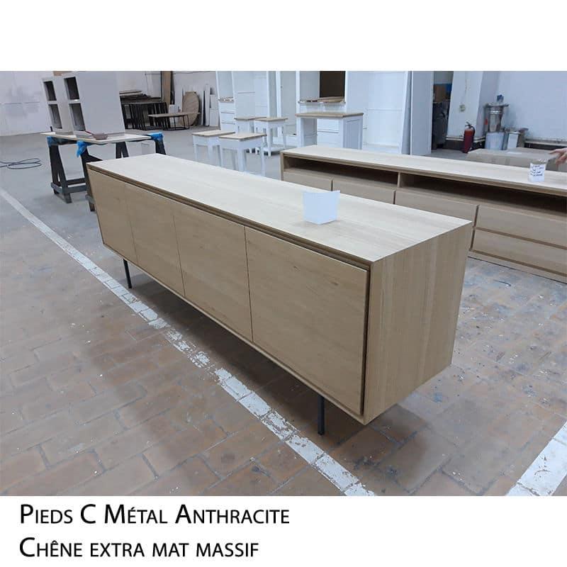 Dressoir design bois métal design scandinave sur mesure
