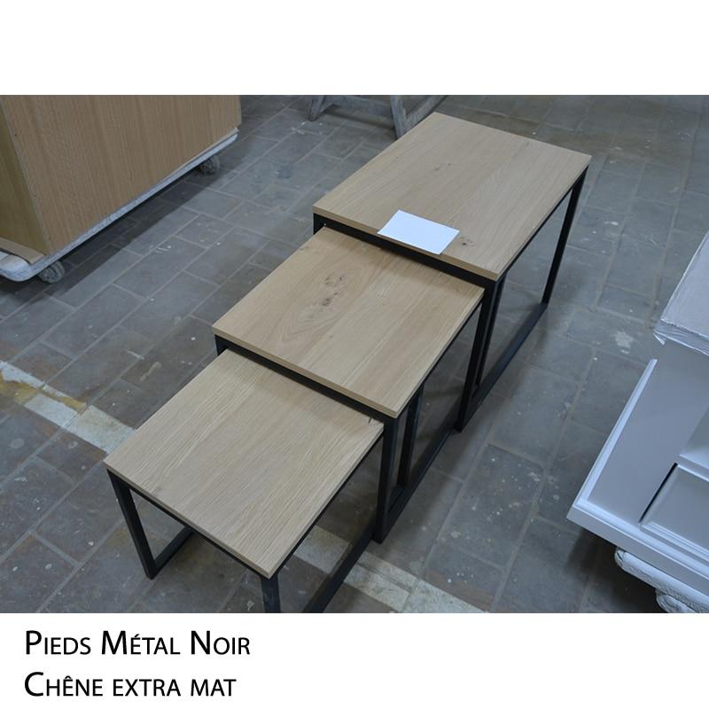 Sofa Table Gigogne métal bois