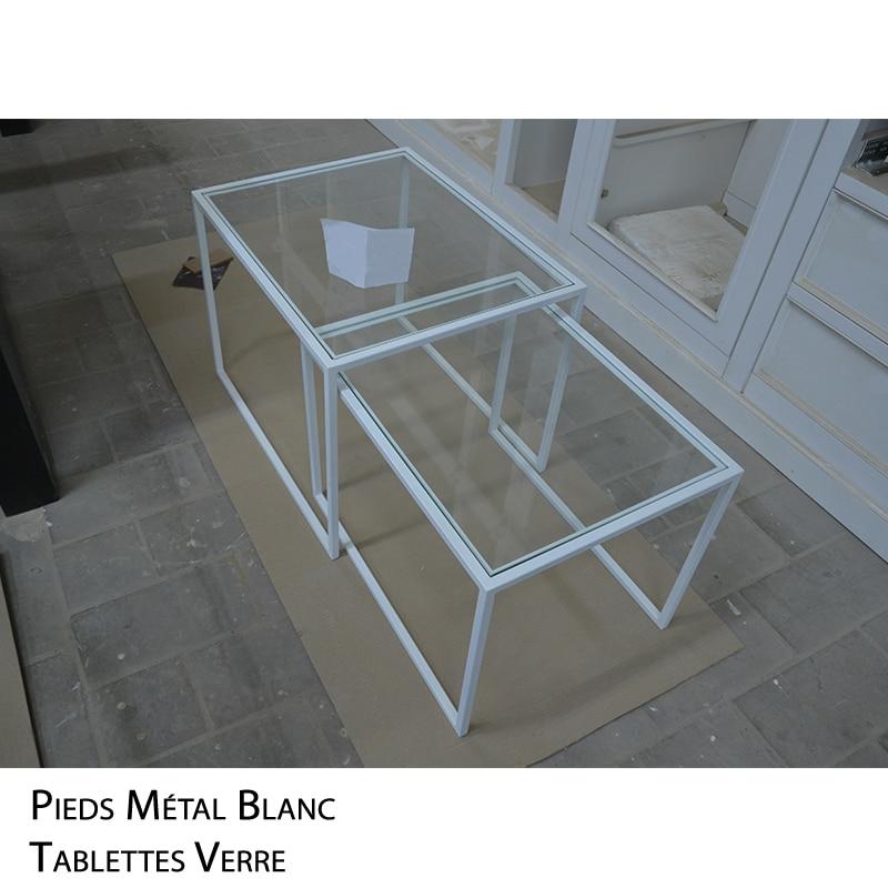 Sofa Table Gigogne métal verre