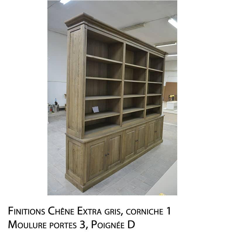 Bibliothèque chêne massif de style Cottage sur mesure