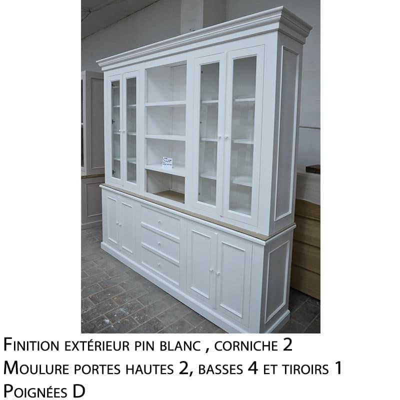 Meuble haut vitrine bois blanc massif design cottage / charme sur mesure