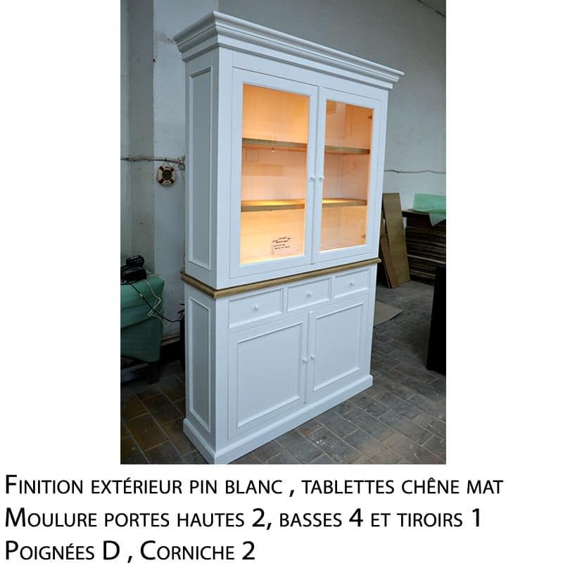 Meuble vitrine en pin et chêne massif design cottage / charme sur mesure