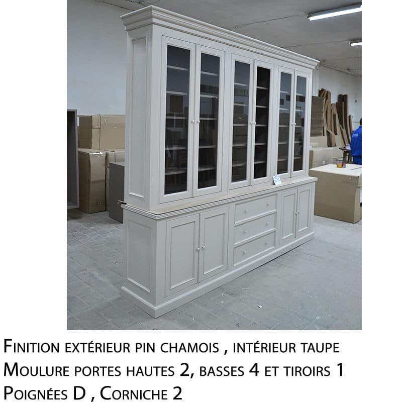 Meuble haut vitrine bois massif design cottage / charme sur mesure