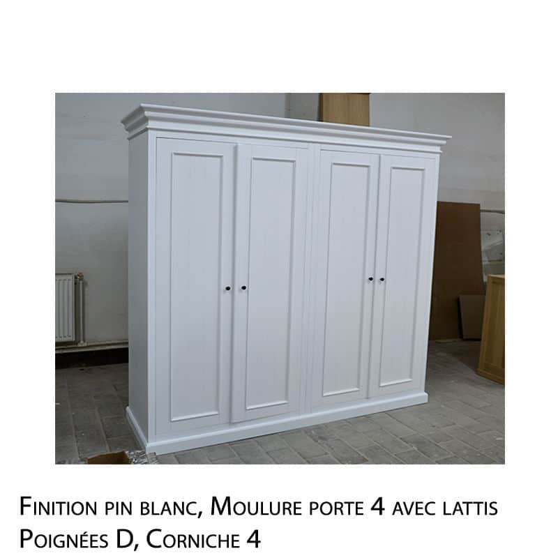 Garde robe en bois massif blanc design cottage / charme sur mesure