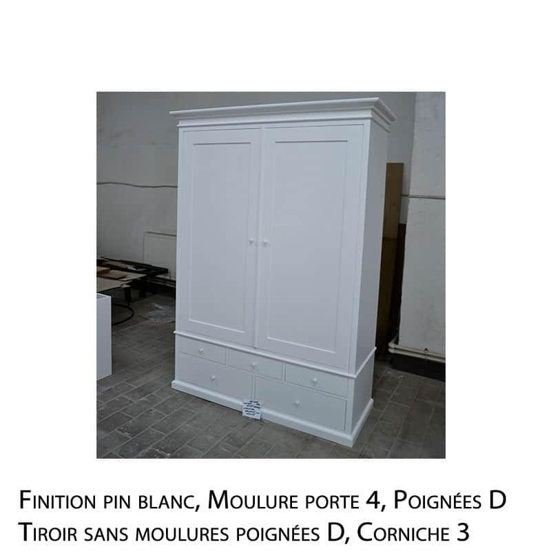 Garde robe en bois massif peint blanc design cottage / charme sur mesure