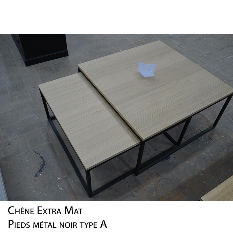 Table basse gigogne métal bois design sur mesure