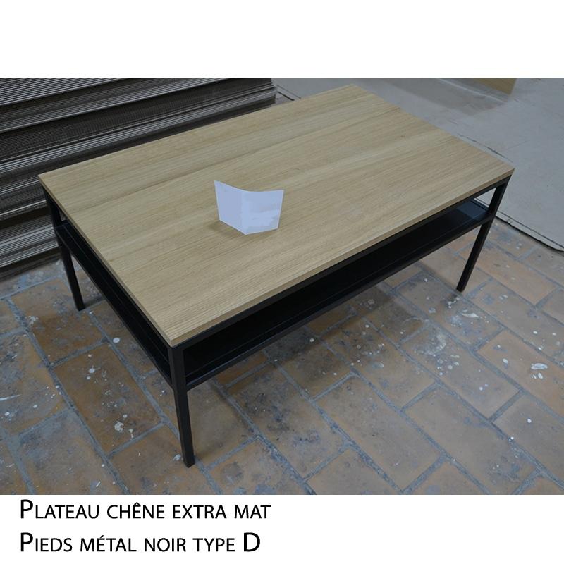 Table basse métal bois design industrielle sur mesure