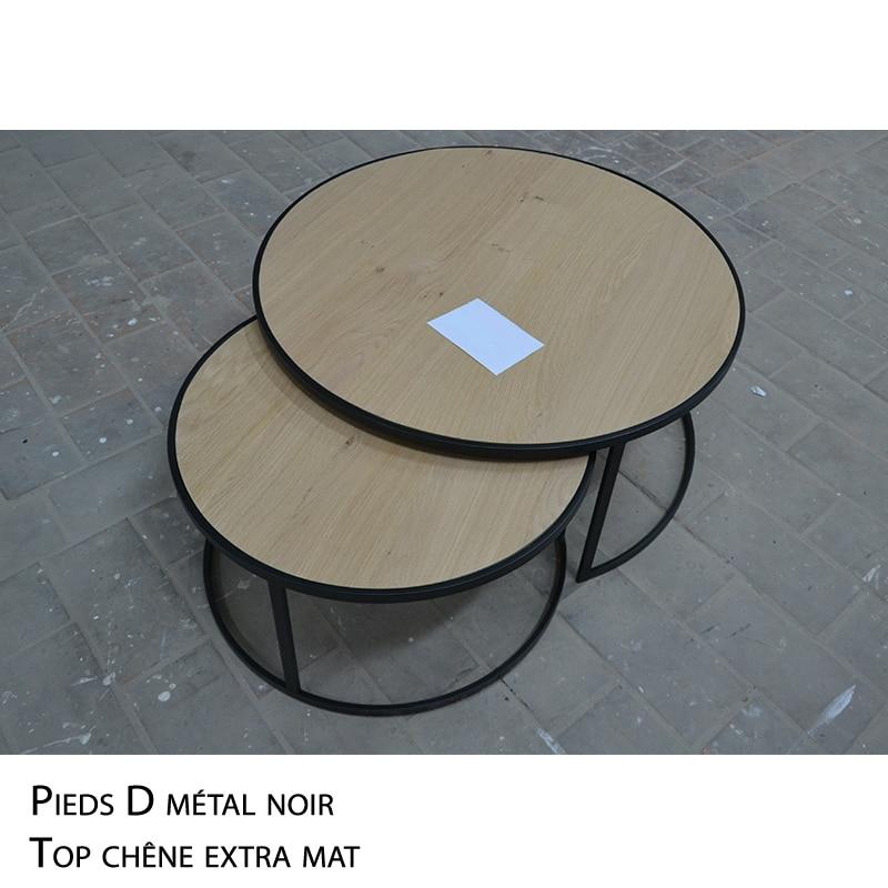 Table basse ronde gigogne chêne métal noir design sur mesure