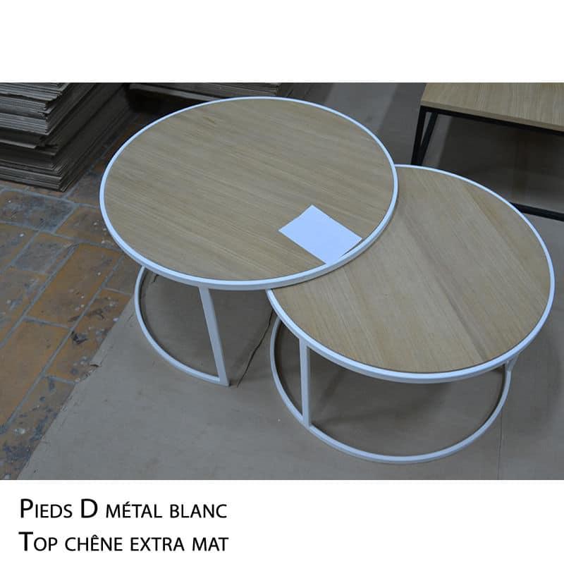 Table basse ronde gigogne chêne métal blanc design sur mesure