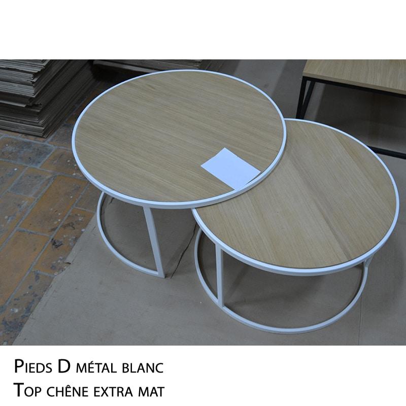 Table basse ronde métal bois verre