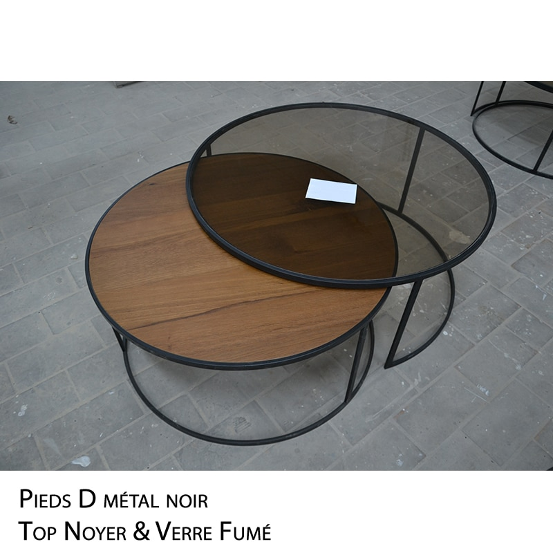Table basse ronde gigogne noyer métal noir verre design sur mesure