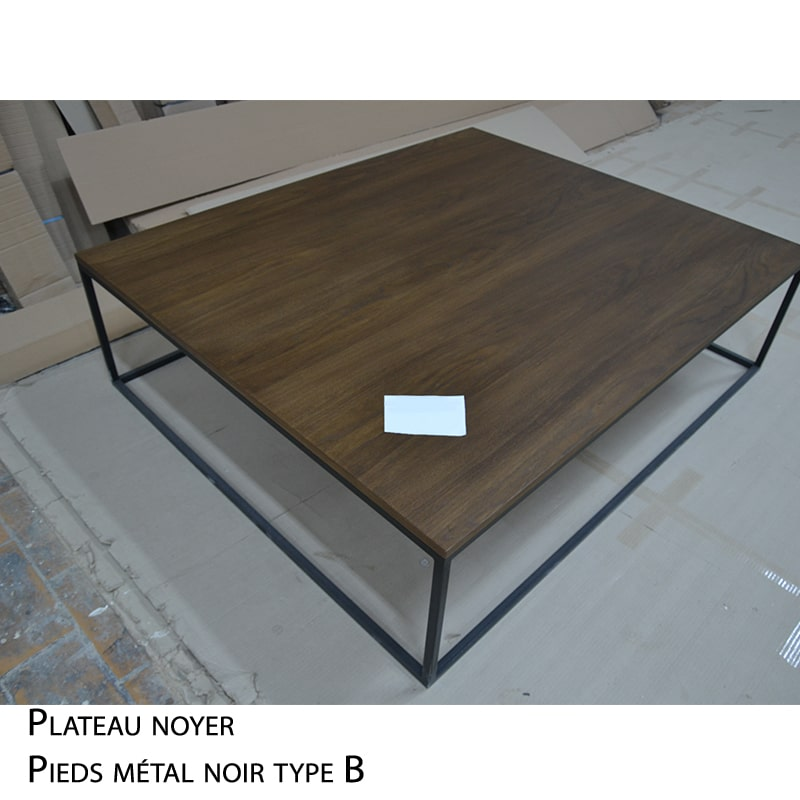 Table basse métal noyer