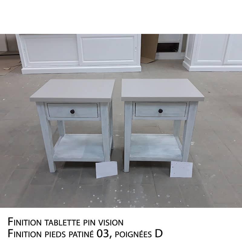 Table de nuit en pin design cottage / charme sur mesure