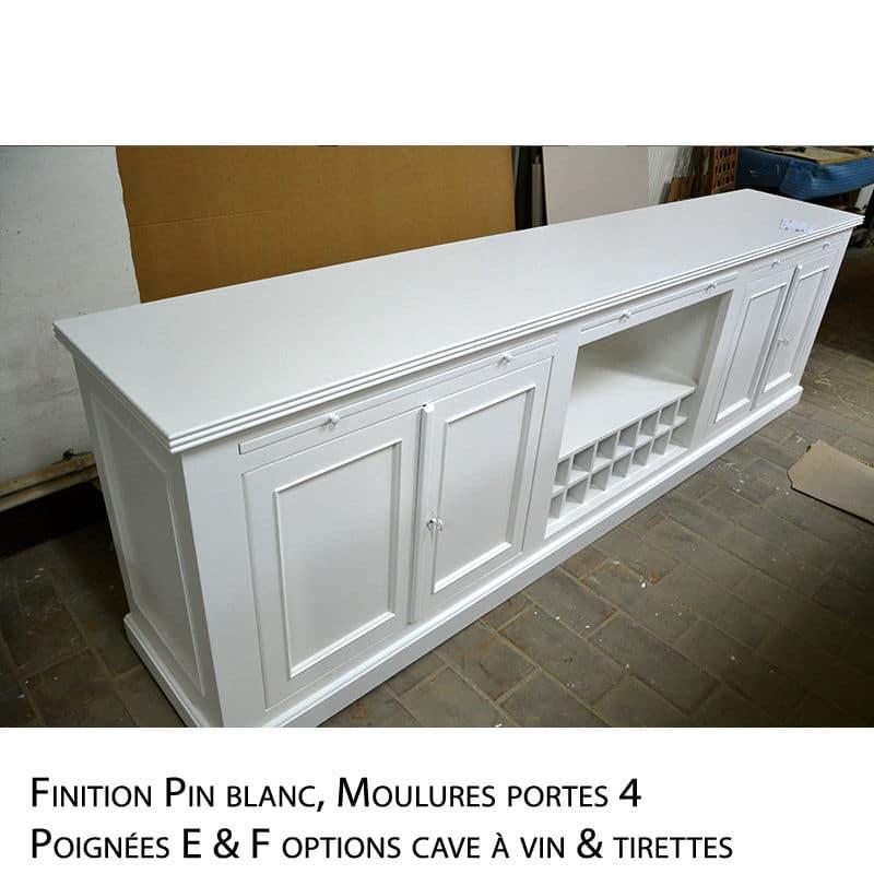 Dressoir en bois blanc de style cottage / charme sur mesure