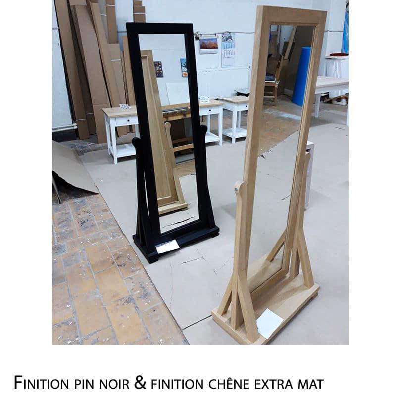 Miroir sur pieds en pin ou chêne de style cottage / charme