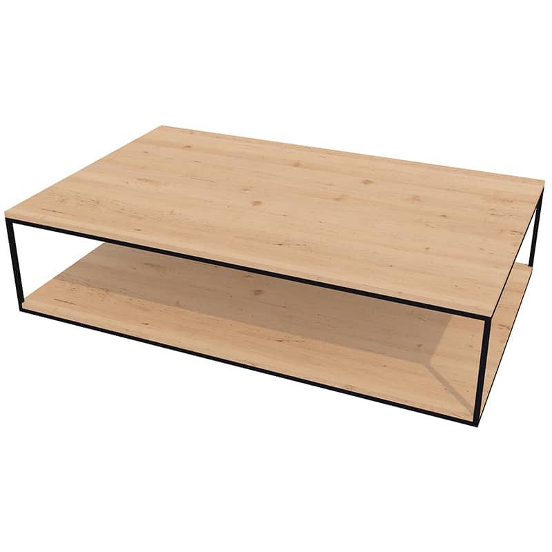 Table basse métal bois design industrielle épuré sur mesure