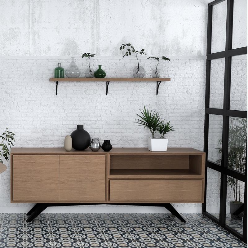 Dressoir métal bois design scandinave sur mesure