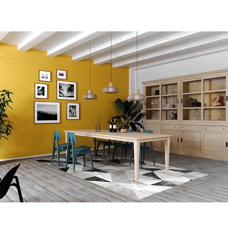 Table avec rallonges en chêne massif de style Cottage sur mesure
