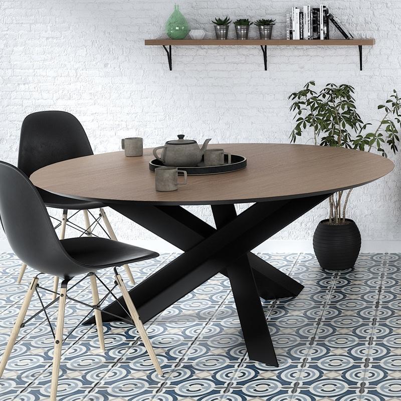 Table à manger ronde métal bois design industriel