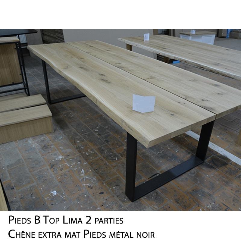 Table rectangulaire bois massif pieds métal avec rallonges design brut épuré sur mesure
