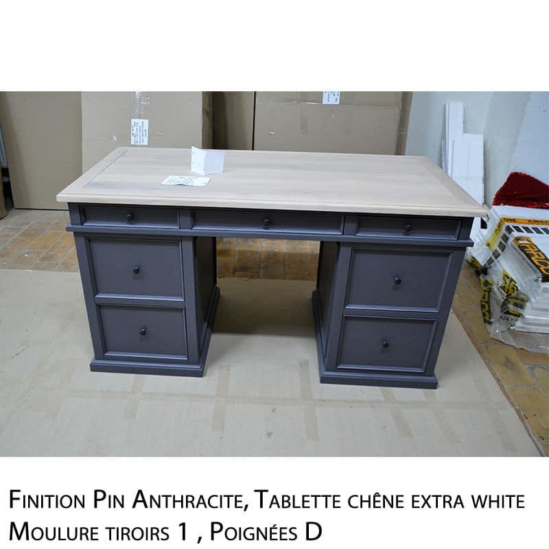 bureau en pin et chêne au style cottage / charme sur mesure