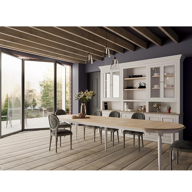 Table ovale avec rallonges en bois massif de style cottage / charme sur mesure