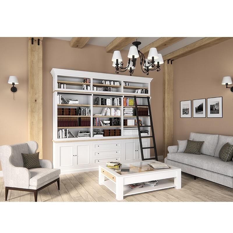 Meuble haut bibliothèque bois massif design cottage / charme sur mesure