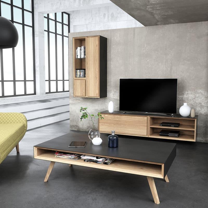 meubles de salon design scandinave métal bois sur mesure