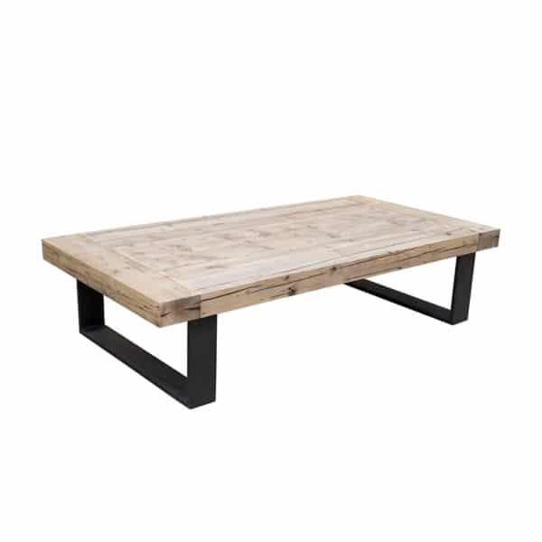 Table basse métal bois massif design brut sur mesure