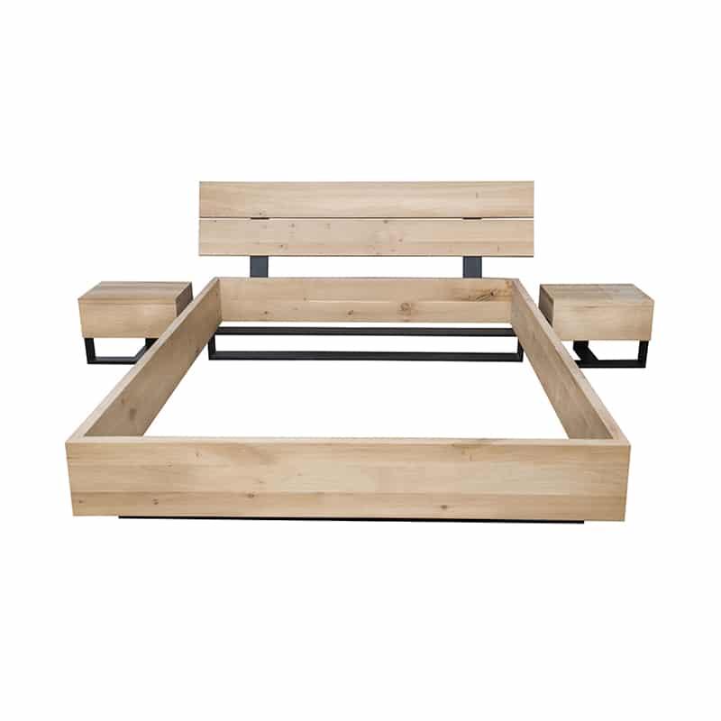 Lit métal bois design industrielle épuré 160 - 180 - 200 cm