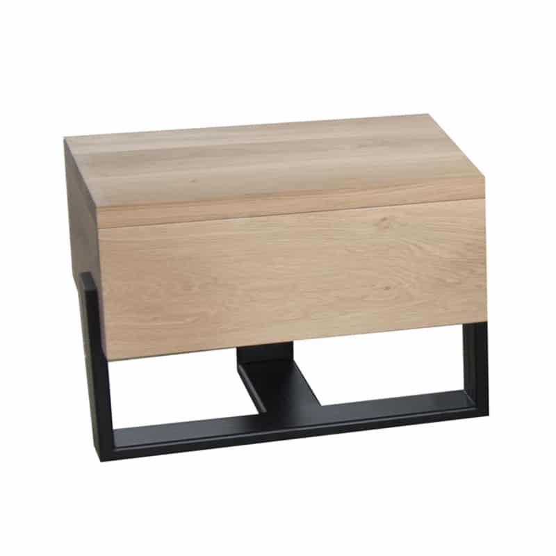 Table de nuit bois métal avec tiroir design épuré