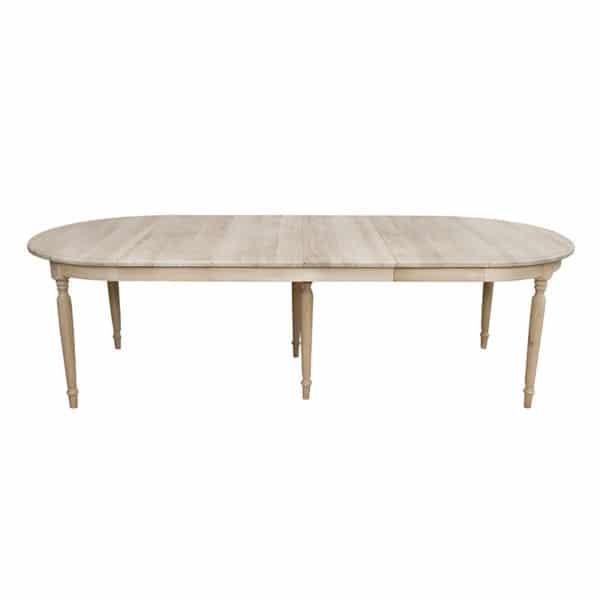 Table ovale avec rallonges en chênemassif de style cottage / charme sur mesure