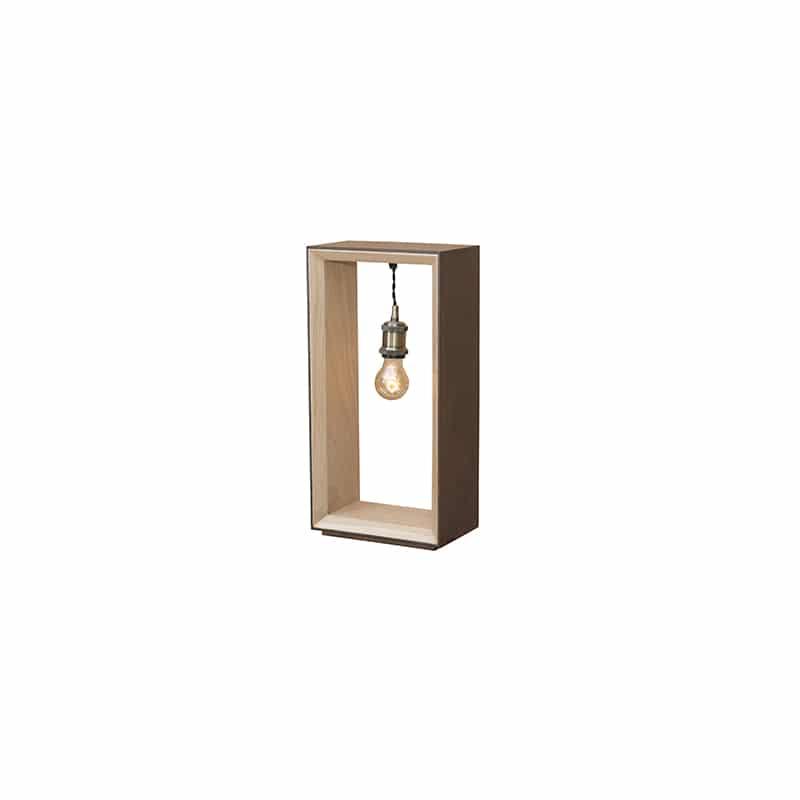 Lampe bois métal corten design