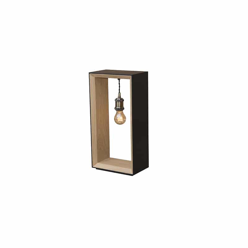 Lampe bois métal noir design