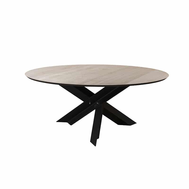 Table ronde métal bois design industrielle sur mesure