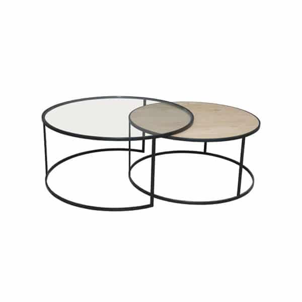 Table basse ronde gigogne chêne métal noir design épuré