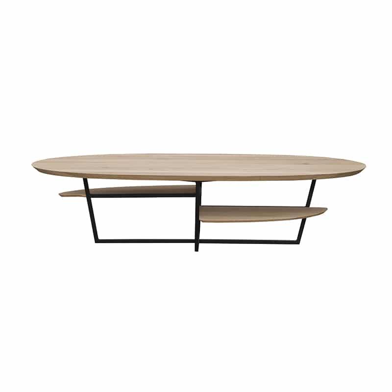 Table basse ovale métal bois design sur mesure
