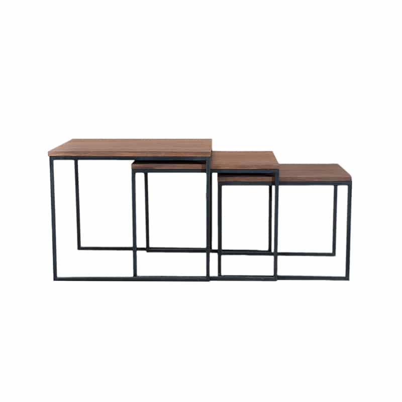 Table basse canapé gigognes métal bois design industrielle épuré sur mesure