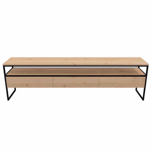 Meuble Tv métal bois design industrielle épuré sur mesure