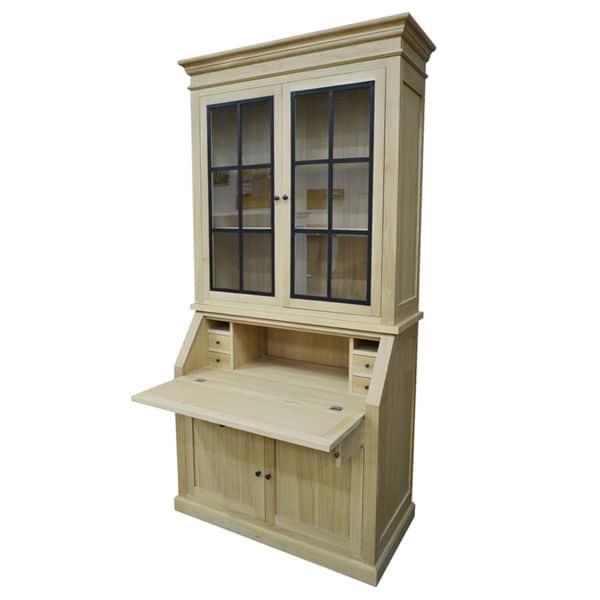 Meuble haut secrétaire en bois métal de style Cottage sur mesure