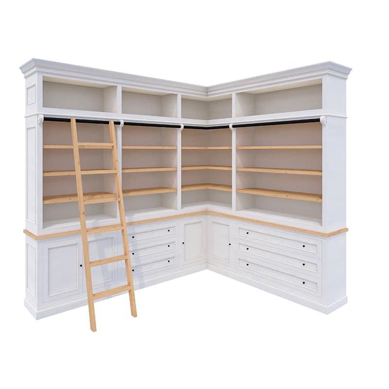 Meuble bibliothèque de coin en pin de style cottage / charme sur mesure