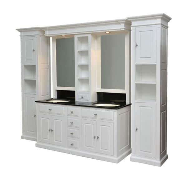 meuble de salle de bain en pin blanc design cottage / charme sur mesure