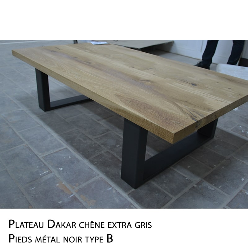 Table basse métal bois massif