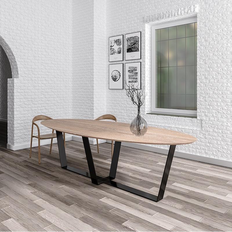 Table ovale bois métal design sur-mesure