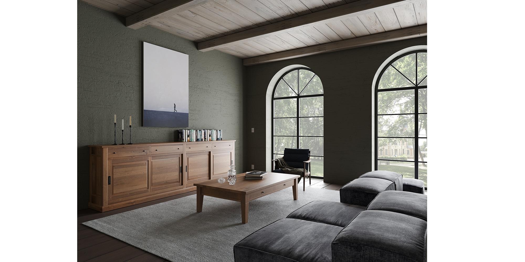 Dresser chêne massif de style cottage sur mesure