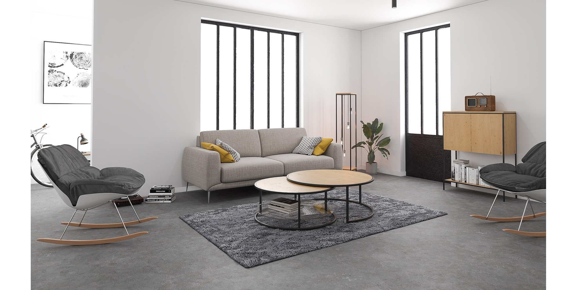 Intérieur de style industrielle épuré meubles métal bois sur mesure