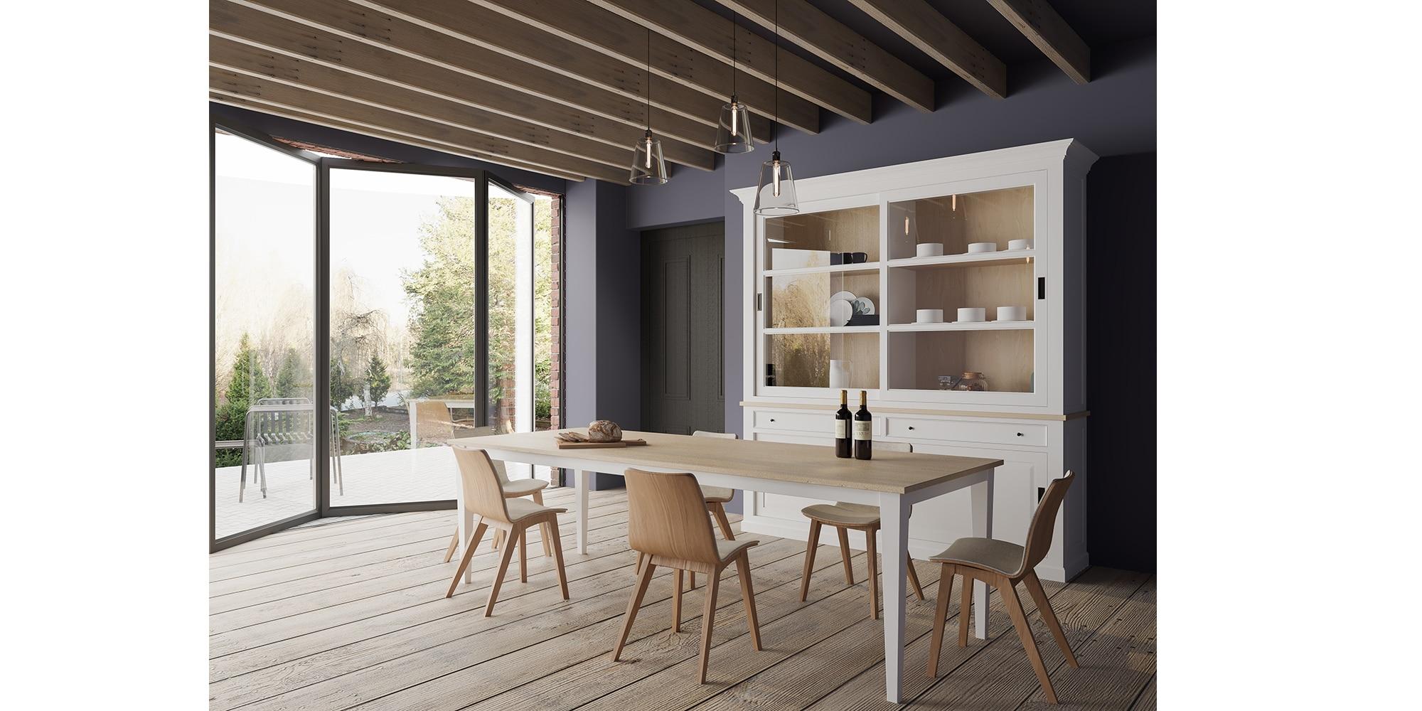 Table rectangulaire avec rallonges en bois massif de style cottage / charme sur mesure