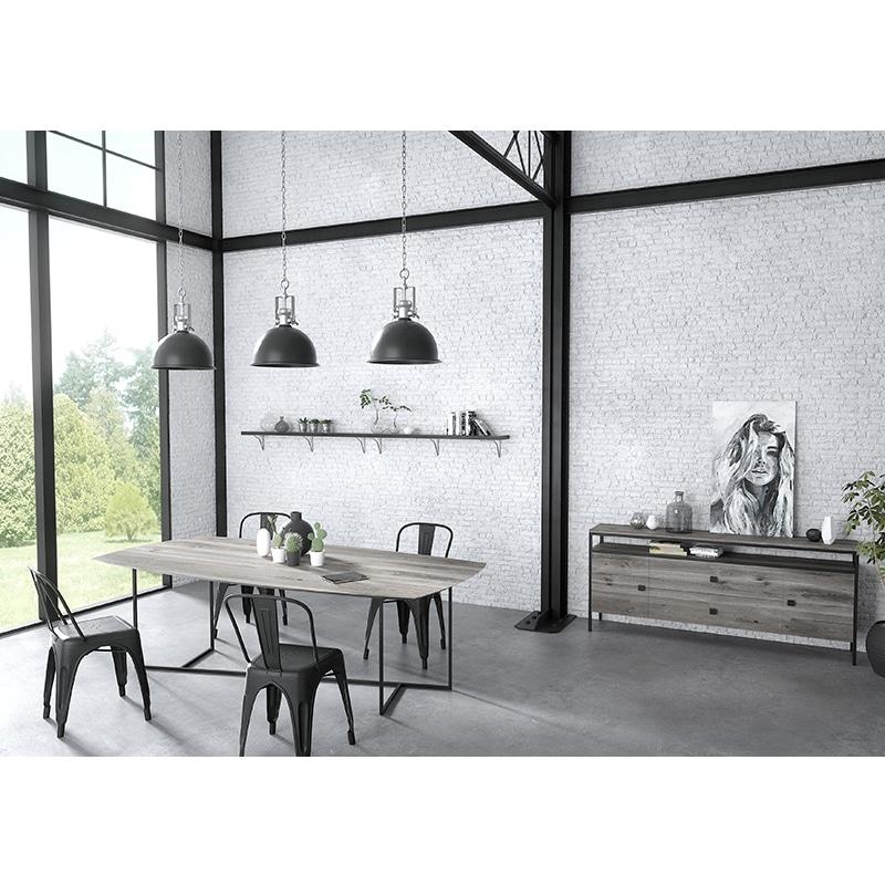 Table métal et bois massif avec rallonges design industrielle épuré