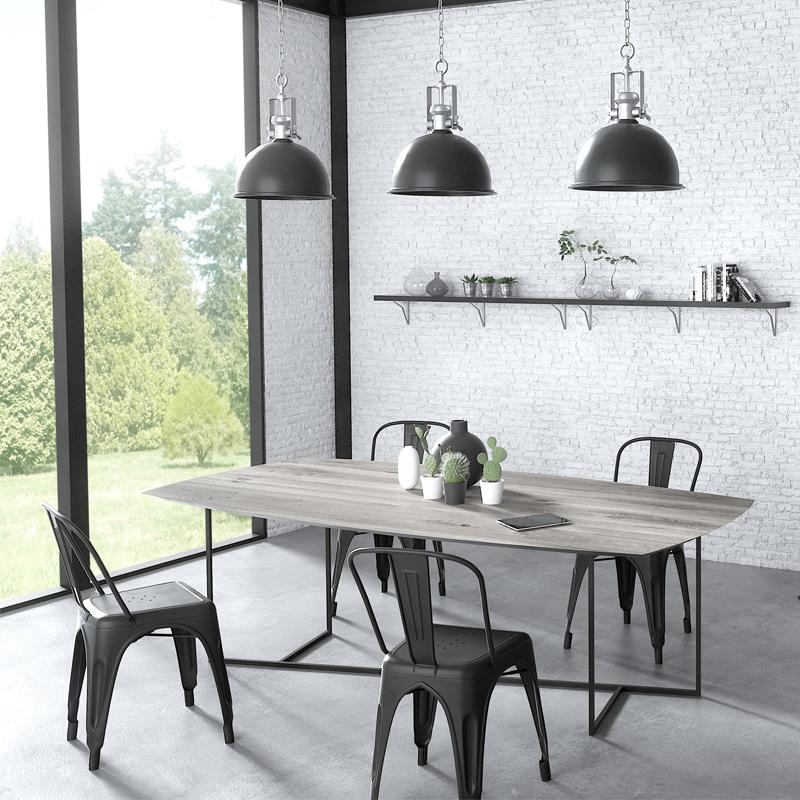 Table métal et bois massif design
